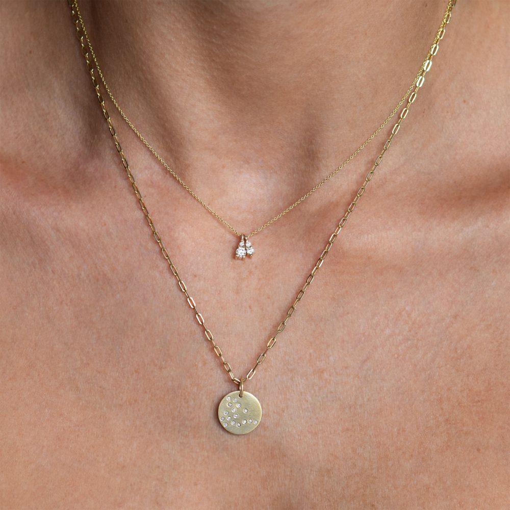 dragon constellation gold necklace white diamonds gia