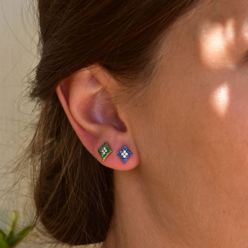 Curves & Edges Rhombi Earrings (Blue)