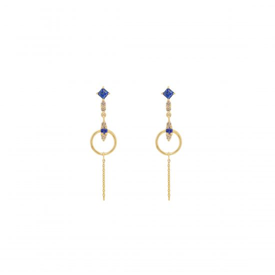 river earrings gold sapphires white diamonds