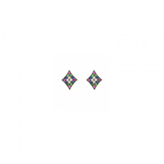 Curves & Edges Rhombi Earrings (Rainbow)