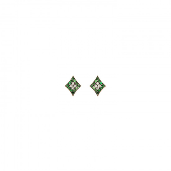 Curves & Edges Rhombi Earrings (Green)