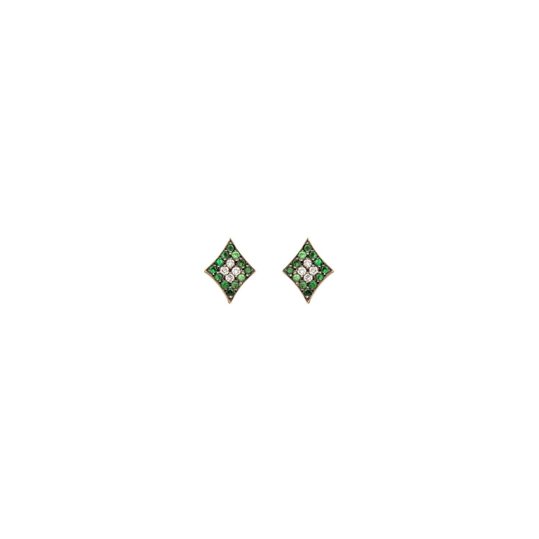 Curves & Edges Rhombi Earrings (Green)