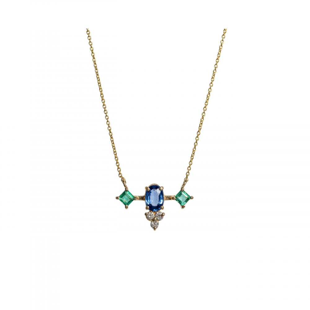 cyanea necklace gold white diamonds emeralds sapphires