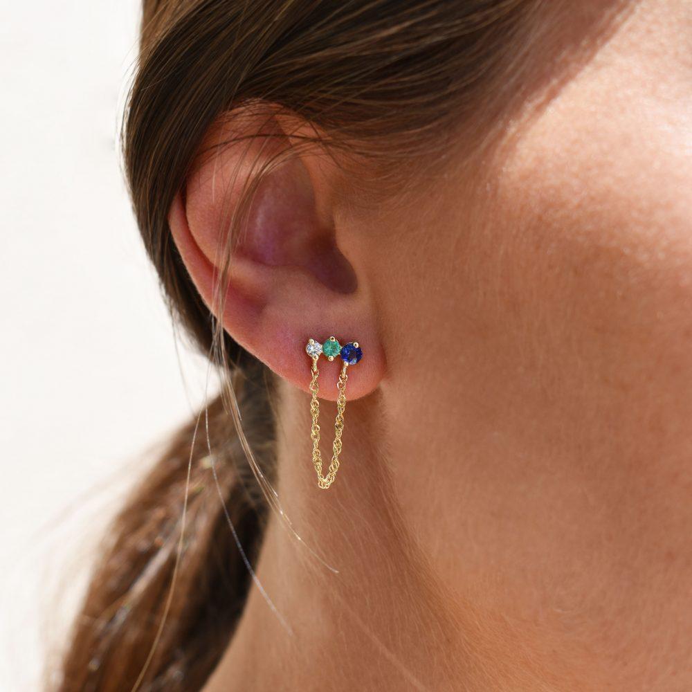 rigel earrings gold white diamonds emeralds sapphires