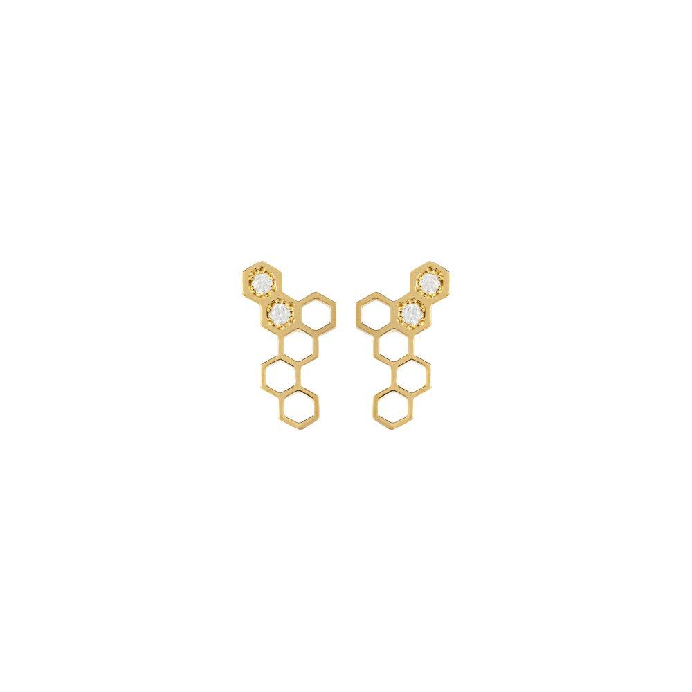 honeycombs earrings white diamonds gold
