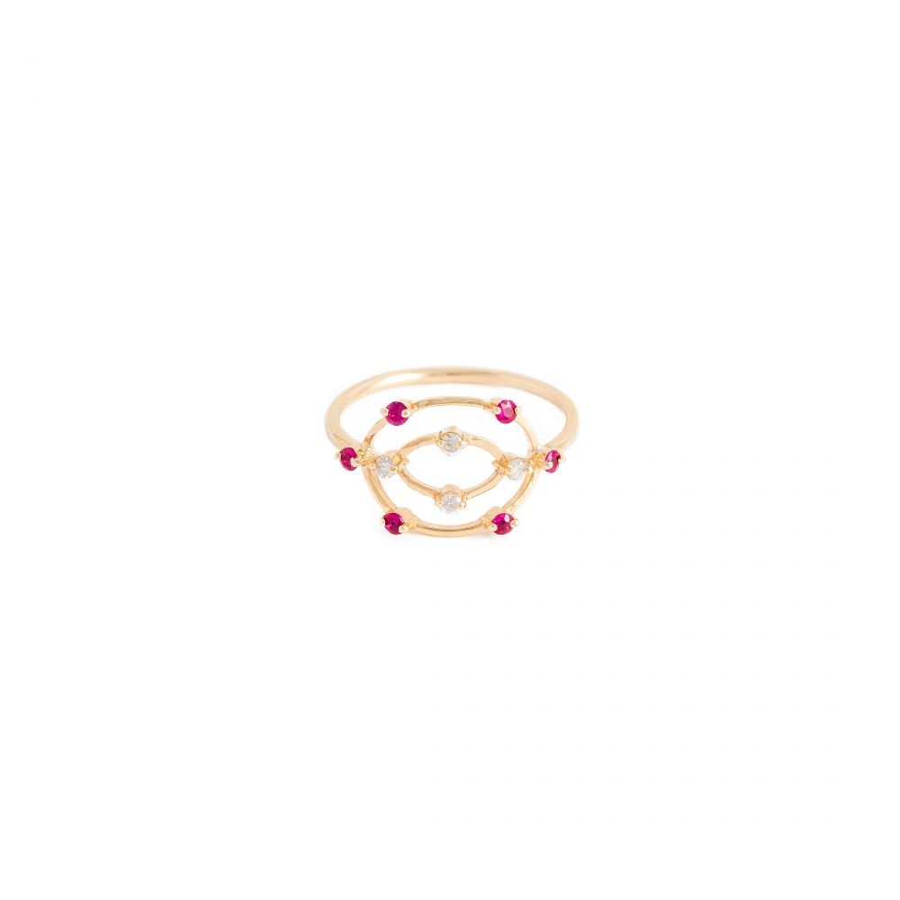 aurora ring white diamonds rubies gold