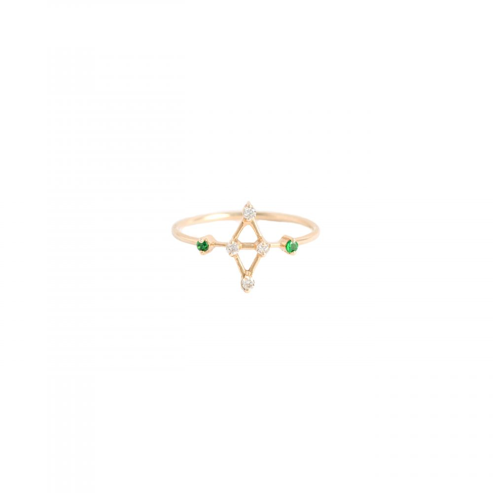 rigel ring white diamonds tsavorites gold