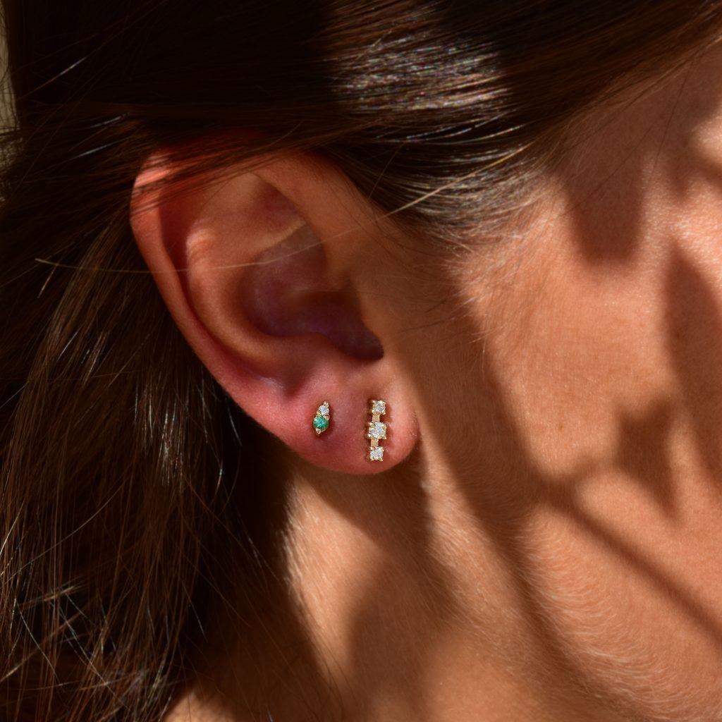 gia tiny earrings emeralds white diamonds gold studs
