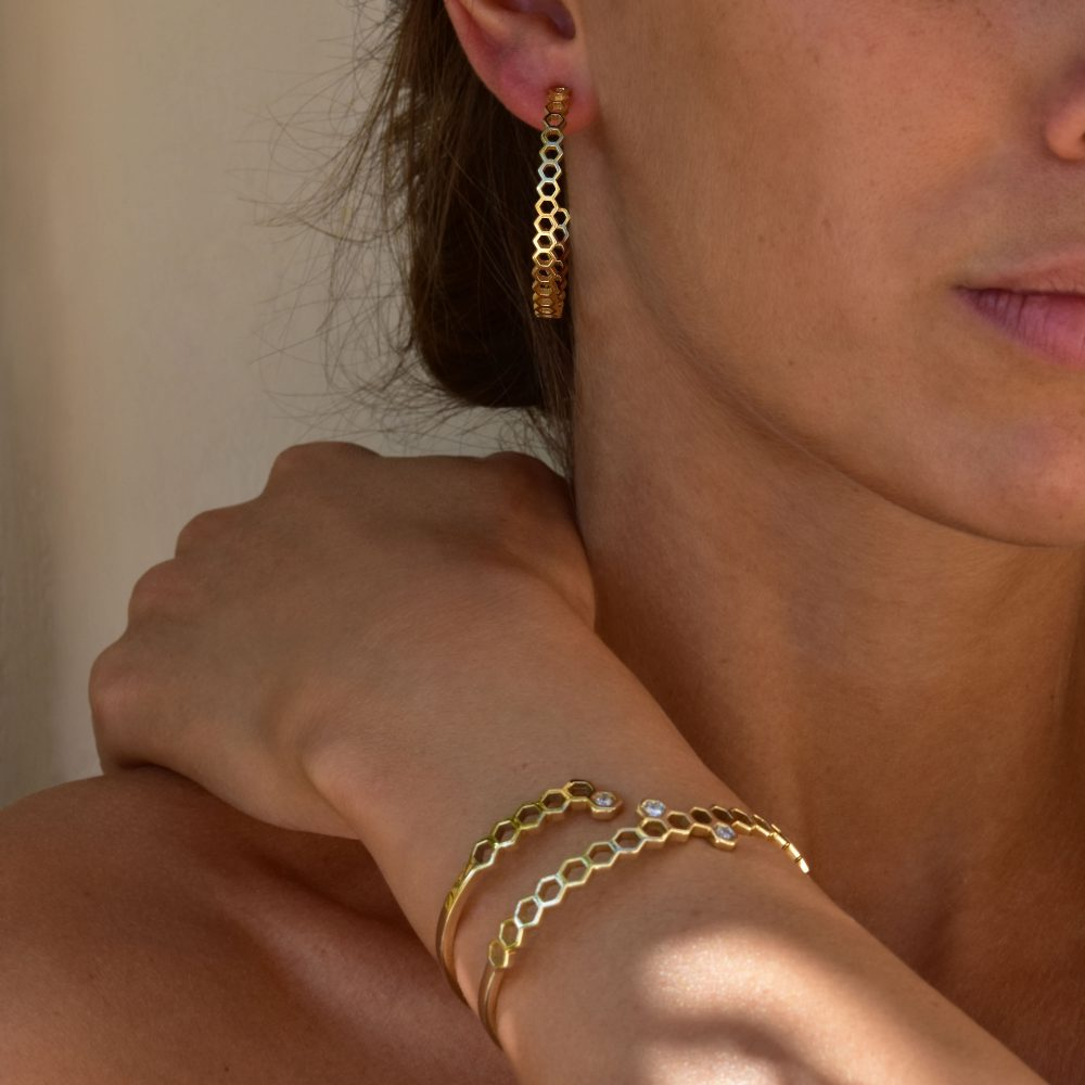 meli cuff honeycombs gold white diamonds bangle bracelet