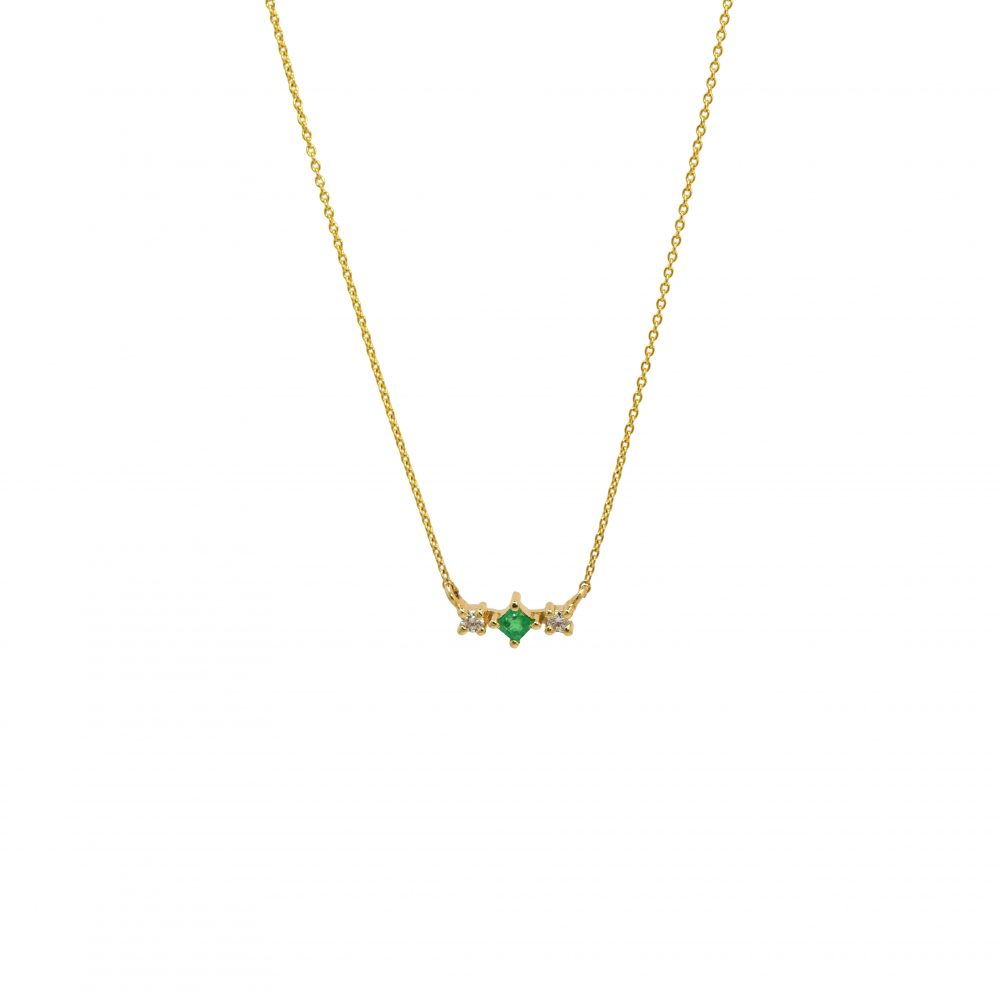 gaia necklace emeralds white diamonds gold