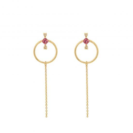 amira earrings pink tourmalines diamonds gold