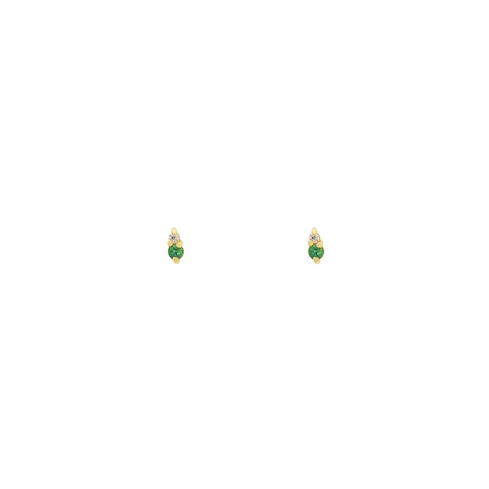 gia tiny earrings emeralds white diamonds gold studs