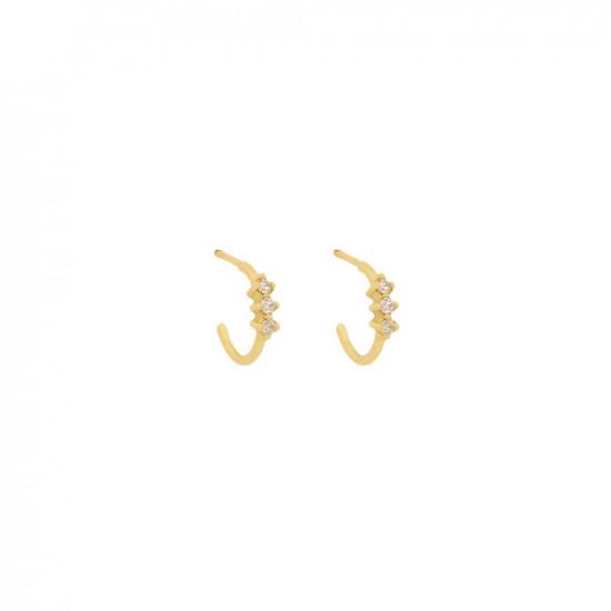 cera hoops white diamonds gold earrings