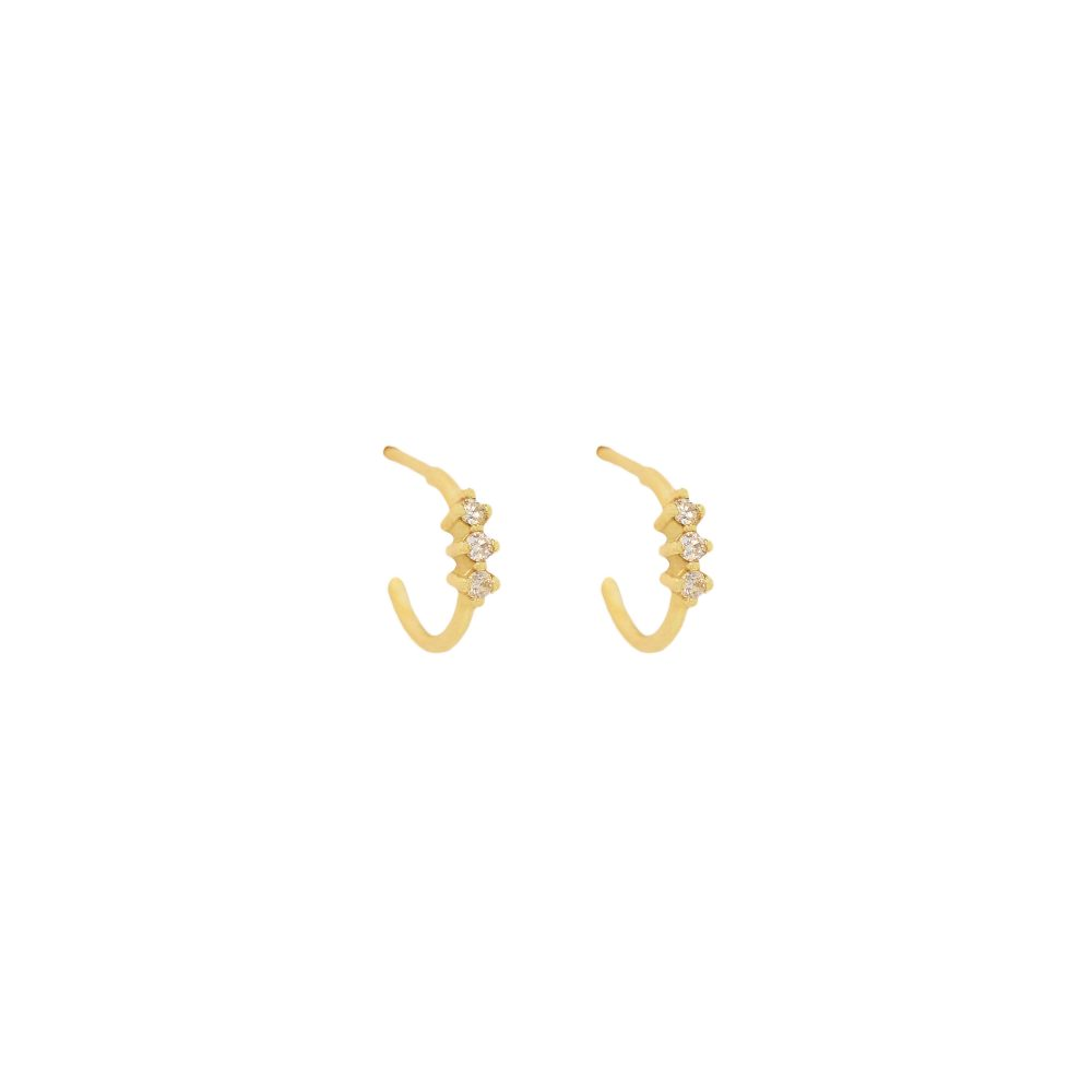 cera hoops white diamonds gold earrings