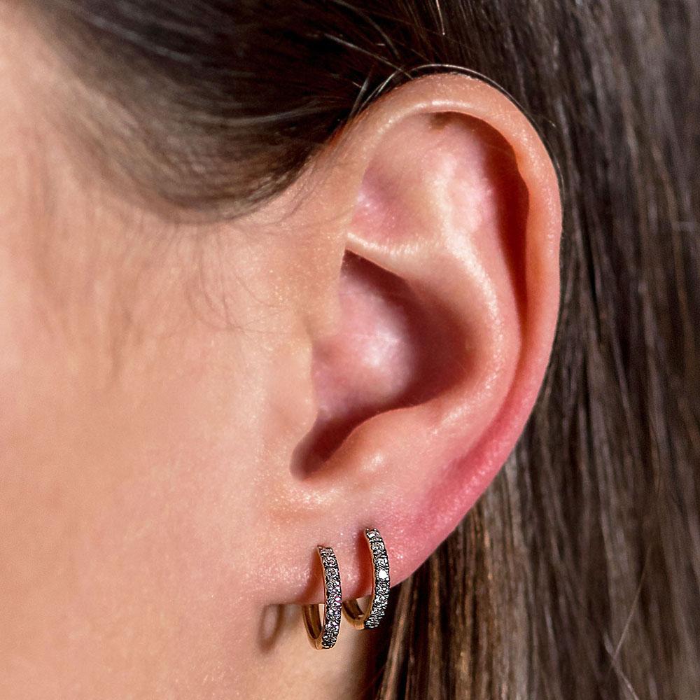 small hoops white diamonds gold earrings