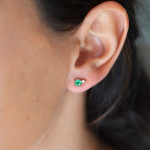 gia big earrings emeralds white diamonds gold